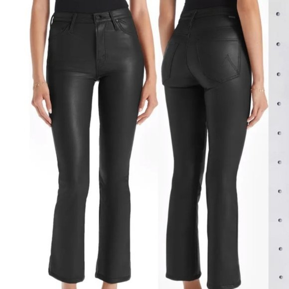 MOTHER THE INSIDER CROP FAUX LEATHER JEANS 26 *